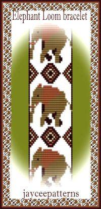 Elephant Loom bracelet PATTERN by Jayceepatterns