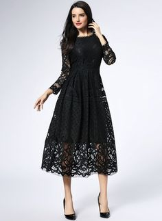 Lace Solid Long Sleeve Mid-Calf Vintage Dresses (1029058) @ floryday.com