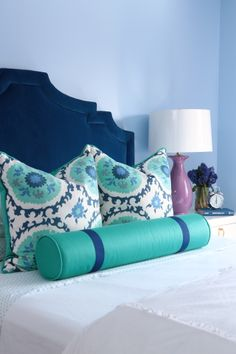 Lovely bedroom : kravet cobalt blue velvet upholstered headboard via century furniture : custom pillows from quadrille fabrics : alisha gwen interior design