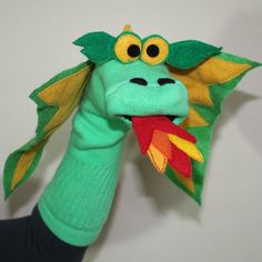 Items similar to Gorgeous Green Dragon Couture Sock Puppet with Removable Fire on Etsy Sock Puppets, Hand Puppets, Hand Crafts For Kids, Egg Carton Crafts, Marionette, Sock Toys, Dragon Party, Puppet Making, Dragon Crafts