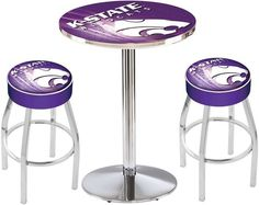 Kansas State Wildcats D2 Chrome Pub Table Set. Available in two table widths.  Visit SportsFansPlus.com for Details.