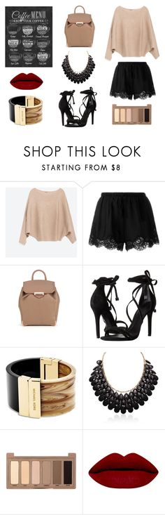 """latte"" by evelinqa on Polyvore featuring Zara, Twin-Set, Alexander Wang, Schutz, Michael Kors i Urban Decay"