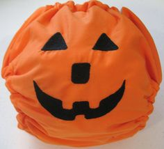 Little Beasties one size cloth pocket diaper with adjustable elastic & leg gussets; pumpkin embroidery; snaps