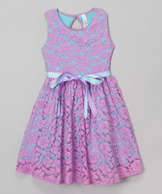 Look what I found on #zulily! Lavender Lace Belted Jackie Dress - Toddler & Girls #zulilyfinds
