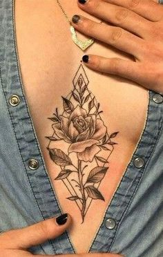 Vintage Wild Rose Sternum Tattoo Ideas for Women - Delicate Black Floral Flower Chest Tat -  ideas de tatuaje de esternón rosa para mujeres - www.MyBodiArt.com #tattoos