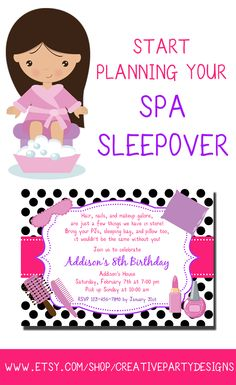 4 Printable Stationery Designs to Create a Stylish Spa Sleepover Party - Invitation, Thank You Notes, Favor Tags, and Cupcake Toppers!