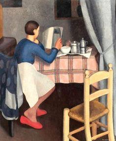La Colazione (Breakfast), 1929 by Daphne Maugham Casorati on Curiator, the world's biggest collaborative art collection. Italian Painters, Italian Artist, Arte Fashion, Art Aquarelle, Reading Art, Woman Reading, Reading Books, Tea Art, Illustrations