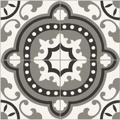 Carreaux ciment 20x20cm baroque noir blanc et gris d cors - Carrelage ciment noir et blanc ...
