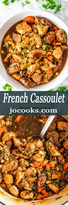 This Classic French Cassoulet is a classic and simple yet delicious casserole with beans, pork sausage and chicken breast. Served with a french baguette and salad? Food Recipes For Dinner, Food Recipes Keto Italian Recipes, Mexican Food Recipes, Ethnic Recipes, French Recipes, French Desserts, German Recipes, Healthy Recipes, Vegetarian Recipes, Healthy Food
