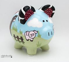 Farm Friends Personalized Piggy Bank with Cow Print, Horse, Pig, Sheep and Chicken The Little Couple, Personalized Piggy Bank, Color Me Mine, One Stroke Painting, Cow Print, Porcelain Ceramics, Nursery Art, Baby Shower Gifts, Just For You