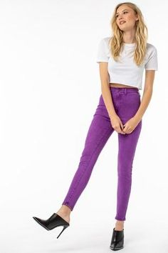 Neon is Now High-Waisted Purple Jeans Purple Jeans, Curvy Fit, Denim Fabric, Girl Gang, Skinny Pants, All The Colors, High Waist, Neon, Pockets