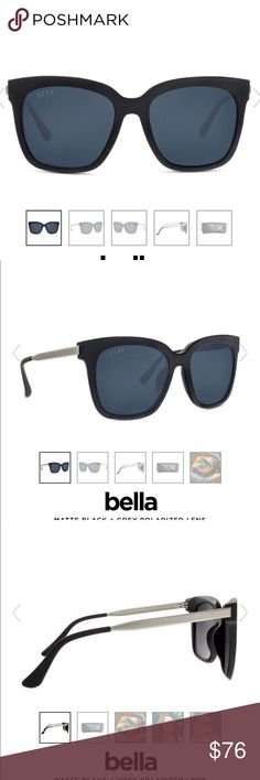 60b7f29a86 Diff bella sunglasses Matte black and gray Diff Eyewear Accessories  Sunglasses Matte Black