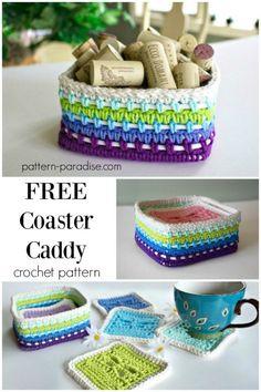 Free Crochet Pattern: Dragonfly Coasters Caddy | Pattern Paradise