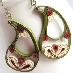 Paisley Indian Earrings in Leaf Green, Ivory, and Rust with Niobium Earring Hooks Eco Friendly Jewelry, Artisan Jewelry