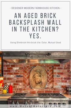 Buy thin brick tile, create a brick wall anywhere! Slimbrick natural real brick installs like a tile. Lots of styles for modern interior design in homes and commercial interiors. Used aged brick wall design. Painted Brick Walls, Glazed Brick, Thin Brick, Brick Tiles, House Tiles, Modern Farmhouse Kitchens, Little Houses, Interior Design Kitchen, Kitchen Backsplash