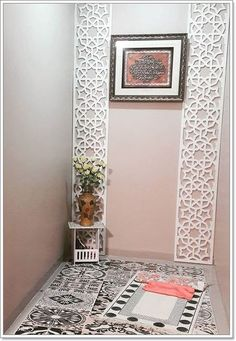 Home Room Design, House Design, Prayer Corner, Islamic Wall Decor, Room Wall Painting, Living Room Tv Unit Designs, European Home Decor, Boutique Interior, Prayer Room
