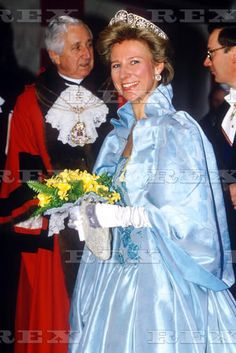 A couple of images of Birgitta, Duchess of Gloucester, wearing the all diamond version of their Palmette tiara, probably from 1980's