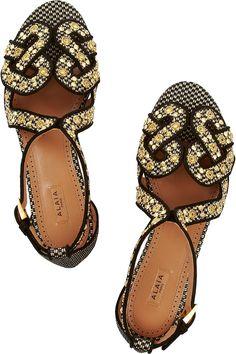 Alaïa|Nailhead raffia sandals ~ Cynthia Reccord