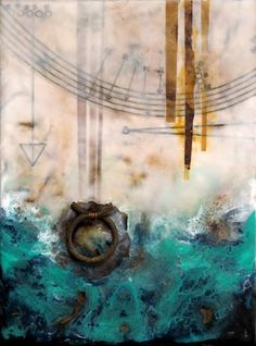 "Pam Nichols | A 1000 Leagues | encaustic with rust, paper and found objects, 8""x6"" /sm"
