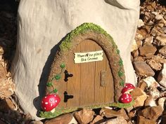 To make a gnome home in your yard, all you need is a tree, door, and a small window or two.  After that, you have a home, or the sky is the limit.