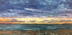 """Late Summer and the Sinking Sun by maggie capettini Oil ~ 4"""" x 8"""""""