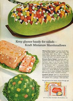Keep glamour handy for salad with marshmallows. Wut???