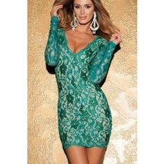 Scalloped Deep V Backless Lace Bodycon Dress