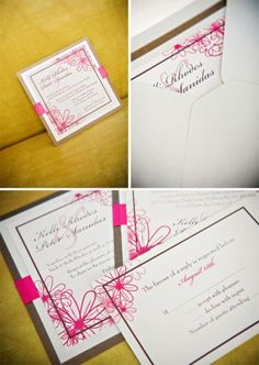 Hot pink and brown wedding invitations.