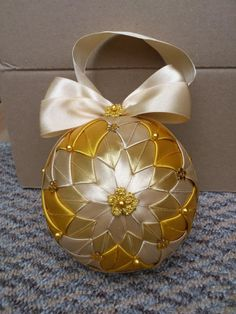 HCD002 Christmas Baubles Gold ~ Handmade Christmas Decoration   The Crafty Network ... satin ribbons in gold tones and cream ... exquisite!