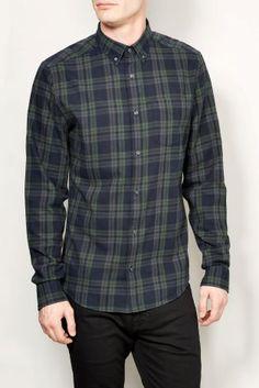Buy Black/Khaki Check Long Sleeve Shirt from the Next UK online shop