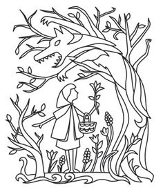 Patterned after traditional German papercutting, this silhouetted scene gives Little Red Riding Hood an enchanting look! Downloads as a PDF. Use pattern transfer paper to trace design for hand-stitching.