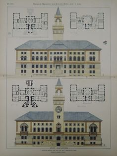 Accepted Design, City Hall, Worcester, MA, 1896, Original Plan. Peabody & Stearns.