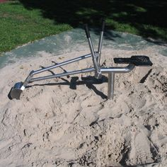 bagger Sand Digger With Lever Controlled Digging Bucket And Realistic Operators Seat All Manufactured In Stainless Steel Playground Toys, Water Playground, Backyard Playground, Playground Ideas, Backyard Toys, Backyard For Kids, Sand Play, Kids Sandbox, Scrap Metal Art