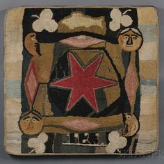 Antique hooked rug ~ love the wonky motifs ~ dated 1923
