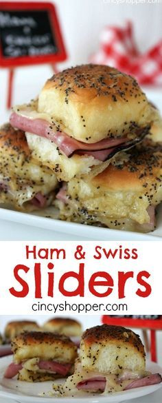 Ham and Swiss Sliders Recipe- Loaded with ham, swiss cheese and a mustard sauce all baked up to perfection. These sandwiches are delicious and over the top messy (in a good way). Perfect for game day or any party .