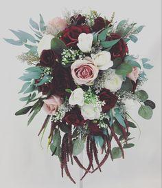 Cream Flowers, Dusty Pink, My Ebay, Bouquets, Floral Wreath, Burgundy, Wreaths, Bridal, Wedding