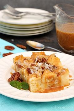 Caramel Coconut Cream Bread Pudding is rich and dense with a velvety smooth interior, crisp top and smoothered in caramel!