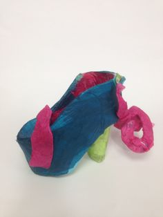 Leah, Y9 card and tissue paper Surreal Shoe model. St Mary's Catholic High School