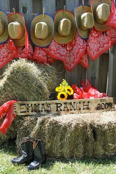 "photos of country western party table settings | Then, the straw bals were free: ""I found a local farm supply store ..."