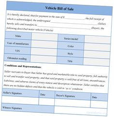 Empty Vehicle Bill Of Sale Template For Car Photo Of Bill Of Sale