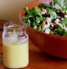"""""""My favorite simple fall salad dressing was created quite unexpectedly. I was given a fancy bottle of white balsamic vinegar infused with pea..."""""""