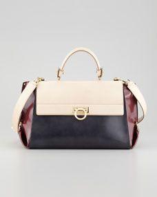 Sofia Tricolor Satchel Bag. Salvatore Ferragamo handbags, find them on eBay, brought together for you in one convenient site! Time and money savings! www.womensdesignerhandbag.com