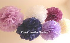 30 teiliges verschied Größen Seidenpapier Pom Poms von PomPomsForParties auf DaWanda.com