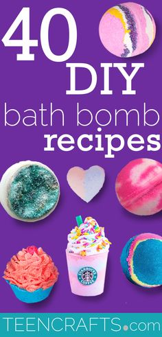 DIY Bath Bombs - Homemade Bath Bomb Recipes to Make at Home - Step by Step Tutorial Ideas, Instructions and Ingredients for Making Bath Bombs - Cupcake, Donut, Amethyst and Geode, Detox, Galaxy and Glitter via @teencraftsdotcom Making Bath Bombs, Best Bath Bombs, Fizzy Bath Bombs, Homemade Bath Bombs, Green Tea Bath, Cupcake Bath Bombs, Bombe Recipe, Crafts For Teens, Teen Crafts