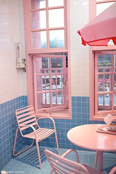 Pink and Blue Cafe Pink Cafe, Blue Cafe, Bedroom Wall Collage, Photo Wall Collage, Stylenanda Pink Hotel, Roses Tumblr, Deco Cool, Estilo Retro, Blue Aesthetic