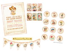 Digital PRINTABLE Party Package Vintage COWGIRL Boy Girl Tea Birthday Invitation Banner Cupcake Topper Label Gift Favor Tag Cards Sheet PP02