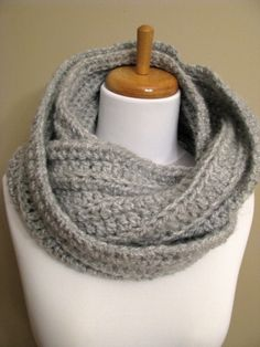 Oversized Eternity Scarf Chunky Cowl Knit Eternity Scarf - Light Gray or CHOOSE Your Color via Etsy