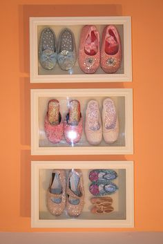 """my daughters outgrown shoes - to precious to part with.{drooz studio """"once upon a time"""" studio}    ...from 2004-2009 www.drooz.com ran operations from an 1830's farmhouse studio located on a lonely country road. the farmhouse was transformed & completely renovated by Shelly Kennedy over a 2 year period. the powder pink, fairytale space hosted many gatherings & celebrations, inspired a great collection of artwork and stories, and was always full of laughter and country mice."""