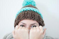 Cappello marrone e menta 100% lana peruviana di KnitYourself