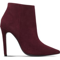CARVELA Sand suede ankle boots ($215) ❤ liked on Polyvore featuring shoes, boots, ankle booties, wine, pointed toe booties, bootie boots, pointy toe ankle boots, suede ankle booties and pointed toe high heels stilettos